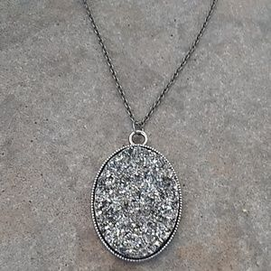 Silver tone imitation Crystal cluster necklace